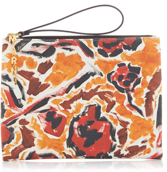 Marni Printed Canvas-Paneled Leather Clutch