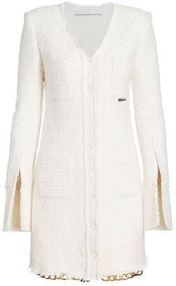 Alexander Wang Long Chain-Hem Knit Shirt Jacket