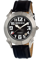 Breed Silver & Black Strauss Automatic Leather-Strap Watch