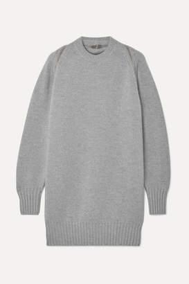 Alexander Wang Oversized Zip-detailed Ribbed Merino Wool Sweater - Gray