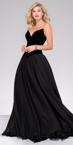 Jovani Strapless Pointed V-Shape Velvet Chiffon Ball Gown