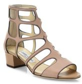 Jimmy Choo Ren Caged Leather Block Heel Sandals