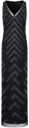 Adrianna Papell Beaded V-neck Column Gown
