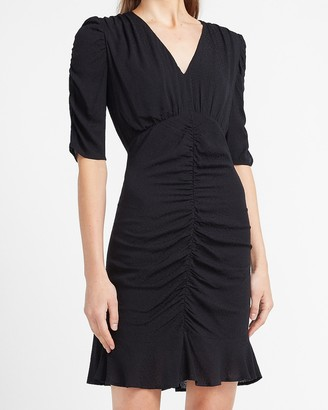 Express Ruched Front Ruffle Hem Sheath Dress