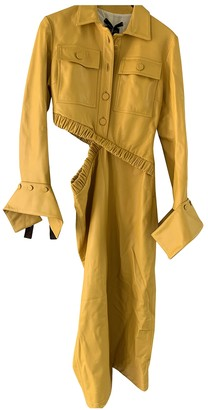 Rokh Yellow Leather Dresses