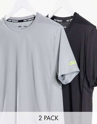 ASOS 4505 icon training t-shirt with quick dry in Black and Gray 2 pack SAVE