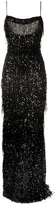 Talbot Runhof Fringed Sequin Sleeveless Gown