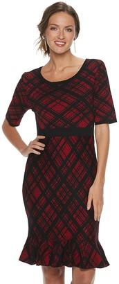 Nina Leonard Women's Plaid Flounce-Hem Dress
