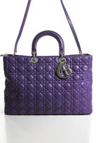 Christian Dior Large Purple Cannage Quilt Leather Large Lady Tote Bag