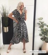 New Look Zebra Print Ruffle Midi Dress
