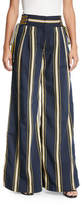 Tanya Taylor Dawn High-Waist Side-Tie Wide-Leg Striped Pants