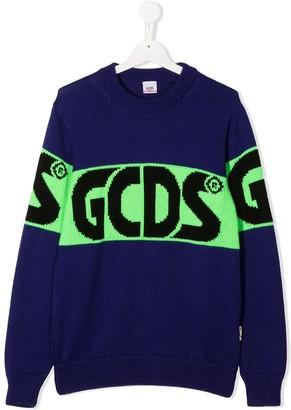 Gcds Kids Logo-Print Panelled Jumper
