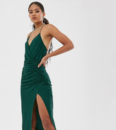 Asos Tall DESIGN Tall textured cami wrap plunge midi dress with split