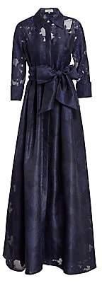 Teri Jon by Rickie Freeman Women's Organza Jacquard Floor-Length Gown