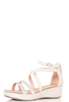 Quiz Light Grey Diamante Wedges
