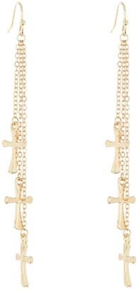 Area Stars Mini Cross Triple Layer Fringe Dangle Earrings