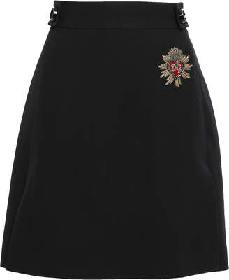 Dolce & Gabbana Appliqued Button-embellished Wool Mini Skirt