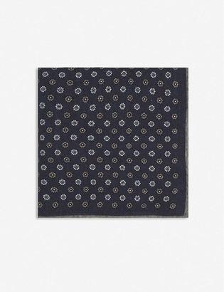 Eleventy Micro Flower wool-blend pocket square