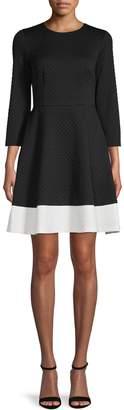 Eliza J Long-Sleeve Bubble Knit Fit--Flare Dress