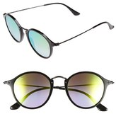 Ray-Ban Women's Icons 49Mm Round Sunglasses - Black/ Blue