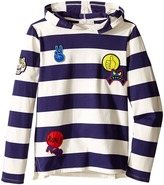 Stella McCartney Sid Striped Hooded Pullover with Badges Boy's T Shirt