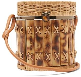 Wai Wai - Bongo Bamboo And Wicker Basket Bag - Brown Multi