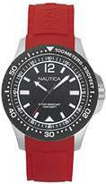Nautica Men's 'MAUI' Quartz Stainless Steel and Silicone Casual Watch, Color:Red (Model: NAPMAU003)