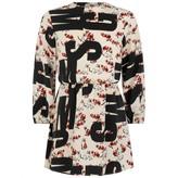MSGM MSGMGirls Logo & Cat Print Silk Crepe Dress