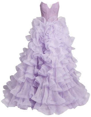 Mikael D Strapless Ruffle Gown