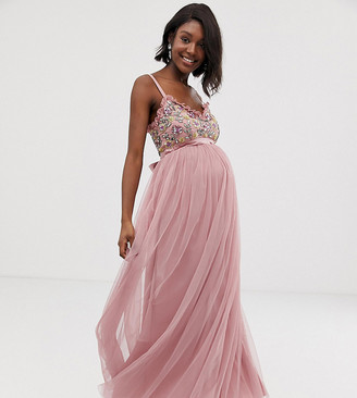 Maya Maternity cami strap contrast embellished top tulle detail maxi dress