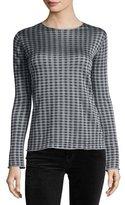 Giorgio Armani Houndstooth-Print Crewneck Sweater, Blue