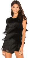 Norma Kamali Fringe Tee in Black. - size L (also in M,S,XS)