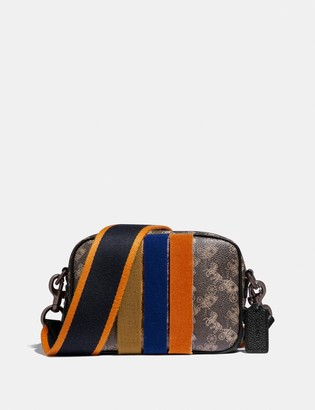 Coach Camera Bag 16 With Horse And Carriage Print And Varsity Stripe