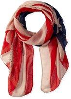 D&Y Women's American Flag Scarf with Rhinestone Eagle