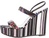 Christian Dior Striped Satin Wedge Sandals