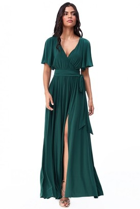 Goddiva Wrap Front Maxi with Flutter Sleeves - Emerald