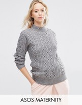 Asos Sweater with High Neck in Cable Stitch