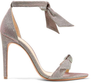 Alexandre Birman Clarita Bow-embellished Textured-lame Sandals - Silver