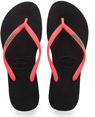 Havaianas Women's Flip-Flops - Black & Coral Pop Up Slim Flip-Flop - Women