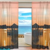 Franzibla Beach And Sunset View Window Sheer Curtain Panels, 2 PCS 55x84 inch, Gauze Curtain for Living Room Bedroom Home Decor