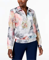 Alfred Dunner Petite Lakeshore Drive Floral-Print Bomber Jacket