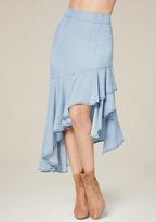 Bebe Asymmetric Ruffle Skirt