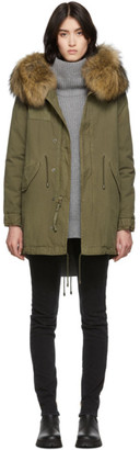 Mr & Mrs Italy Green Midi Fur Jazzy Parka