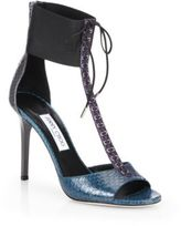 Jimmy Choo Mahine Snakeskin T-Strap Sandals