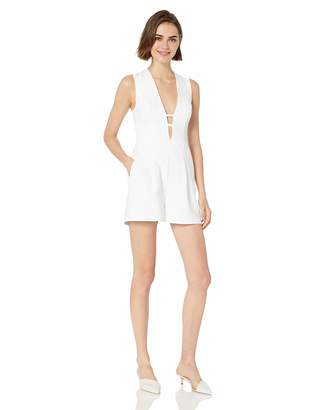 BCBGMAXAZRIA Azria Women's Deep V Pleated Romper