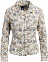Live A Little Women's Denim Jackets PAISLEY - Beige & Blue Paisley Button-Up Blazer - Women