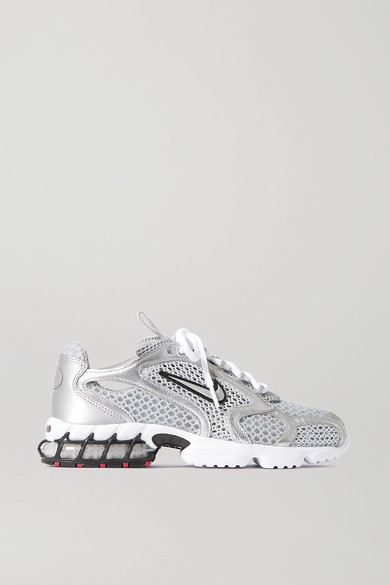 Nike Air Zoom Spiridon Cage 2 Metallic Faux Leather-trimmed Mesh Sneakers - Silver
