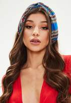 Missguided Blue Printed Knot Front Headscarf