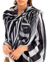 Lenox Lincoln + Womens Printed Cashmere Silk Scarf, Zebra