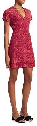 Derek Lam Stretch-Silk Printed V-Neck Dress